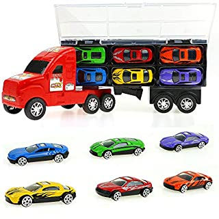 Big Mo's Toys Boys Truck - Transport Carrier Truck with Detachable Cab & Trailer and 6 Cars - Boy Gift Toy