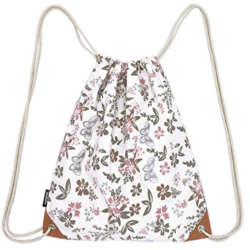 Canvas Drawstring Back Sack (SAMGOO Lightweight Canvas Drawstring Backpack Bag Sackpack Gym Sack Sport String Bags Backpacks With PU Pocket (Flower & Butterfly))