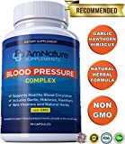 Blood Pressure Complex Supplement – Naturally Reduce Blood Pressure with Vitamins and Natural Herbs – 90 Capsules by AmNature Supplements