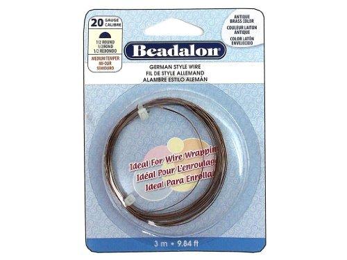 (Beadalon 20-Gauge Half Round Wire for Jewelry Making, 3m, Antique Brass)