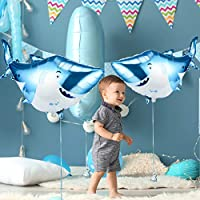 Large Mylar Foil Shark Balloons Happy Birthday Party Supplies Decorations Ocean Animal Under Sea Beach Theme Party Supplies 6 Packs