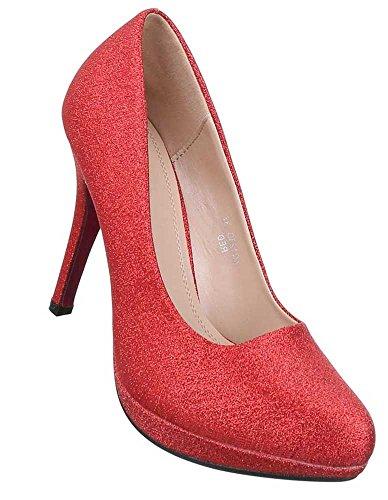 Damen Pumps Schuhe High Heels Stiletto Abendschuhe Club Party Schwarz Weiß Rot 36 37 38 39 40 41 Rot