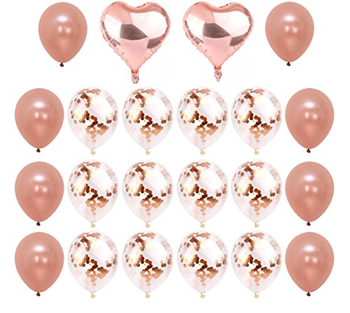 Rose Gold Confetti Balloons 22 Pieces - Beautiful And Elegant Balloons Perfect For Birthdays, Baby Showers, Party Decorations, Weddings, Anniversaries And Much More | Heart, Solid And Confetti Balloon -