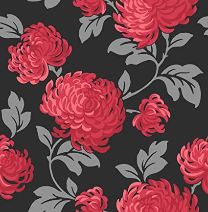 Fine Decor 1clickwallpapers Exclusive Red And Black Floral