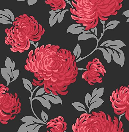 Fine Decor 1clickwallpapers Exclusive Red And Black Floral Wallpaper