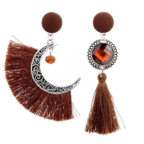 Brown Cultured Earring (Sinwo Women Fashion Openwork Style Sun And Moon Crystal Tassel Dangle Stud Earrings Fashion Jewelry (Brown))