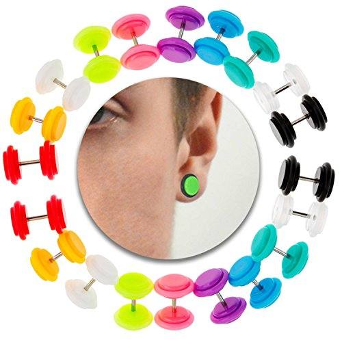 Set Kit Lot of 10 Pairs Cheaters Ear Plugs Fake Illusion O Rings Earrings Ear Studs In Different (Cheater Ear Plugs)