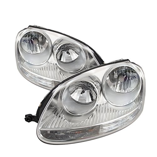 PERDE Chrome Housing Halogen Headlight Compatible with Volkswagen Jetta 2005-2010 Includes Left Driver and Right Passenger Side Headlamps