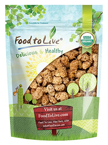 Food to Live Certified Organic Dried White Mulberries (Non-GMO, Unsulfured, Bulk) (2 Pounds)
