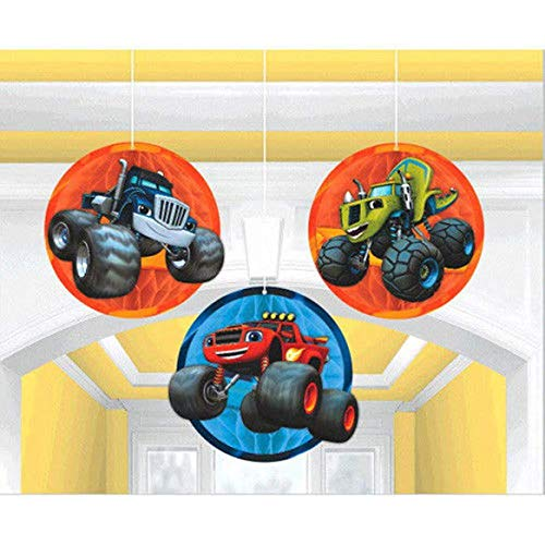 BLAZE and the MONSTER MACHINES HONEYCOMB DECORATIONS (3) ~ Birthday -