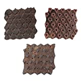 IndianShelf Handmade Set of 3 Piece Brown Wooden Paper Textile Canvas Fabric Block Fabric Printing Stamp