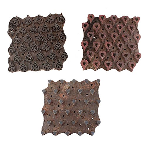 IndianShelf Handmade Set of 3 Piece Brown Wooden Paper Textile Canvas Fabric Block Fabric Printing Stamp by Indian Shelf