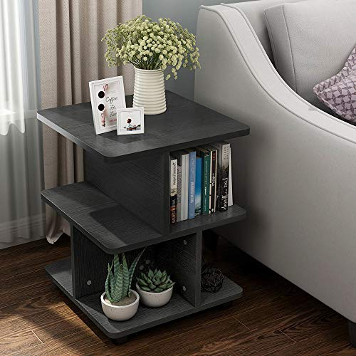 Tribesigns Modern Side End Table for Living Room, 3 Tier Bedside Table Night Stand with Wheels and Storage Shelf for Bed Room Black