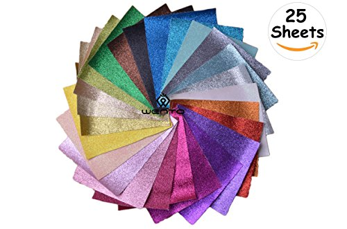 WENTO Assorted Colors 25pcs 8 x 12 (20cm x 30cm) Sparkly Superfine Glitter Fabric,glitter fabric sheets For Patchwork Sewing DIY Craft Glitter Fabric Convas on reverse