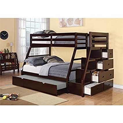 Amazoncom Bowery Hill Twin Over Full Storage Bunk Bed With Trundle