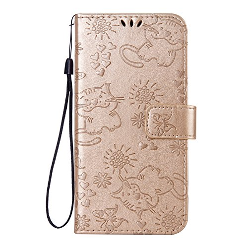 anzeal Xiaomi Redmi Note 5A Case, [Cat Embossing] Wallet Case PU Leather Wallet Case with [Kickstand] &[ID Card Slots] Protective Case Cover for Xiaomi Redmi Note 5A Gold