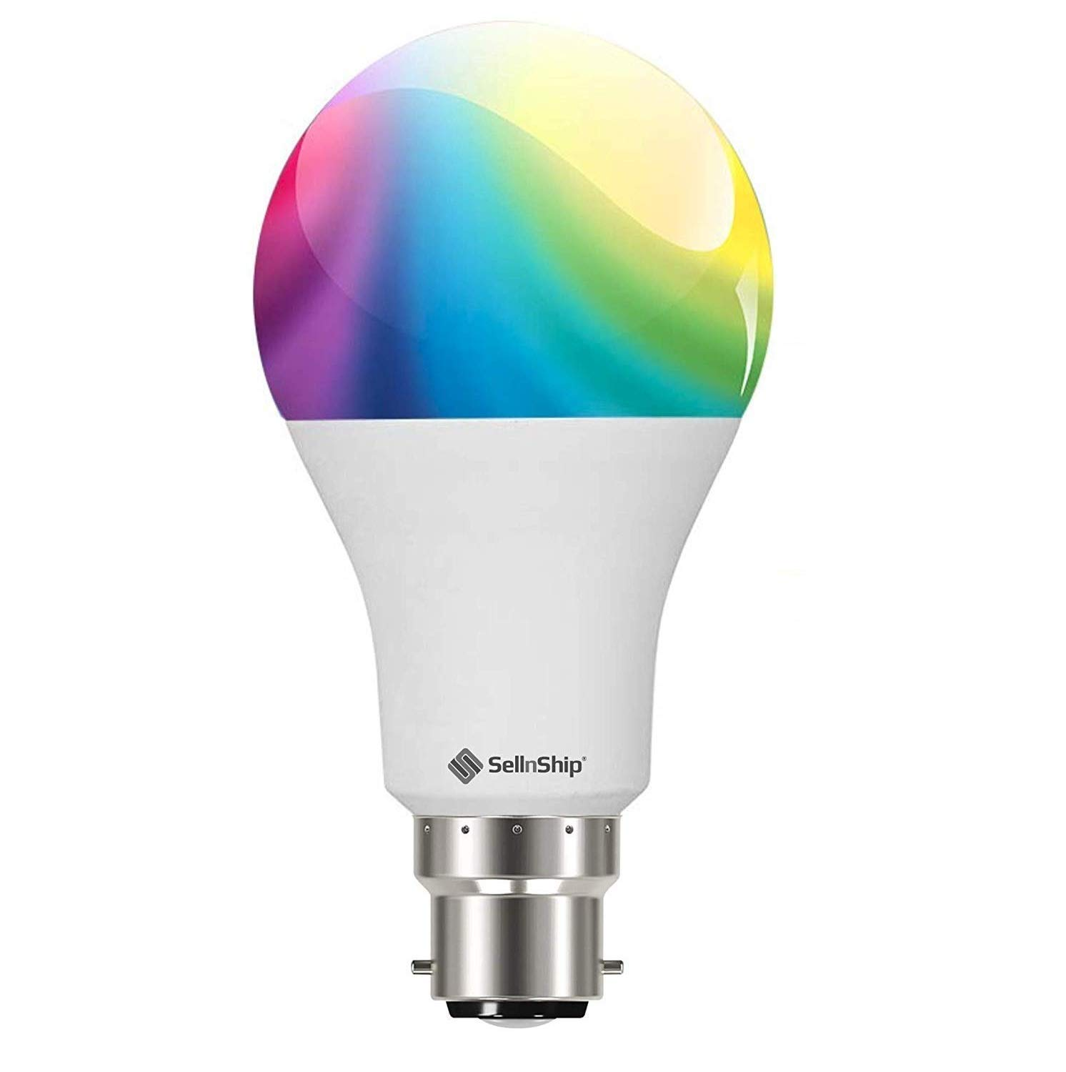 SellnShip B22 Socket Smart LED Bulb Compatible with Alexa WiFi Google Assistant (9 Watt; Warm White and RGB Multicolor)