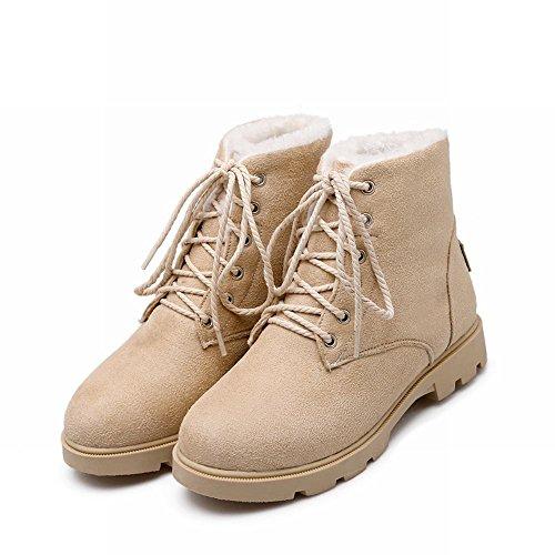 Charm Beige Heel Warm Lining Womens Lace Fluffy Low up Short Boots Thick Velvet Carolbar Winter q8S6vUwqx