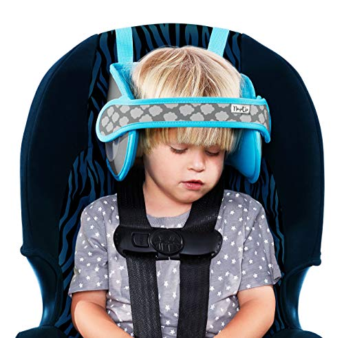 NapUp Child Car Seat Head Support - Safe, Comfortable Head & Neck Pillow Support Solution for Front Facing Car Seats and High Back Boosters - Baby & Kids Travel Accessories (Light Blue)