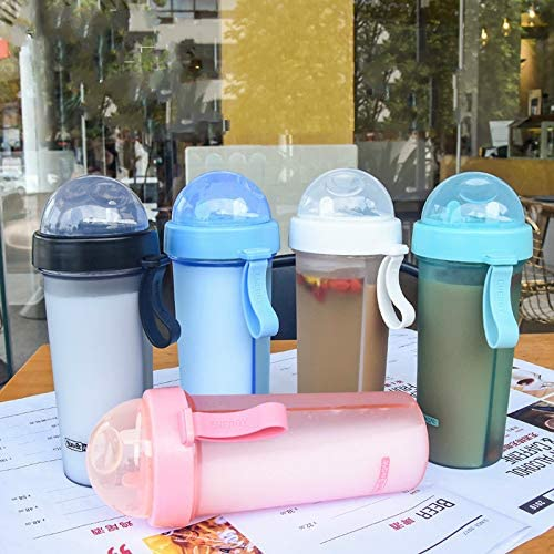 MOSHEN Bottiglia Acqua,Bottiglia,Bottiglia da Viaggio,Bicchiere da Doppio Bicchiere Sabbiato Creativo