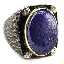 Sterling silver men ring handmade, lapis-lazuli natural stone