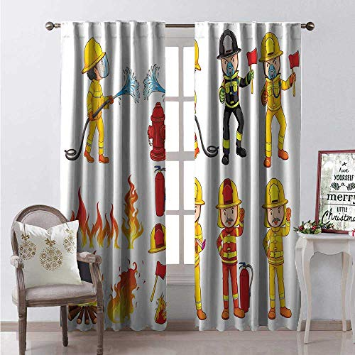 Fireman Blackout Window Curtain Colorful Firefighters Hoses and Fire Hydrant Public Servants Saving People Customized Curtains W72 x L84 Multicolor