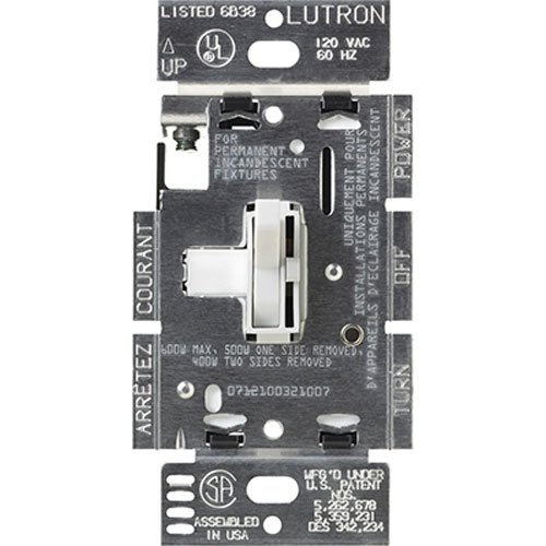 Lutron TG-603PGH-WH Toggler eco-dim 600-Watt Dimmer