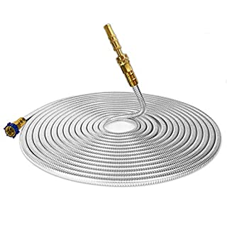 TUNHUI 304 Stainless Steel Garden Hose with Solid Brass Nozzle 75FT Outdoor Hose, 7 Function Spray Gun Solid Metal Fittings Water Hose Flexible Durable Kink Free and Easy to Store