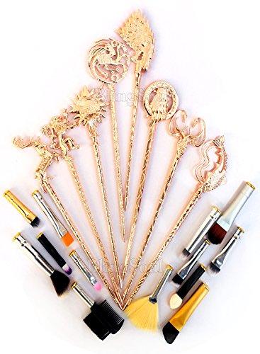 Game Of Thrones Costume Brushes Merchandise - Daenerys Targaryen Stark Mother Of Dragon Iron Throne Makeup Brushes (Brush Set - Rose Gold) -