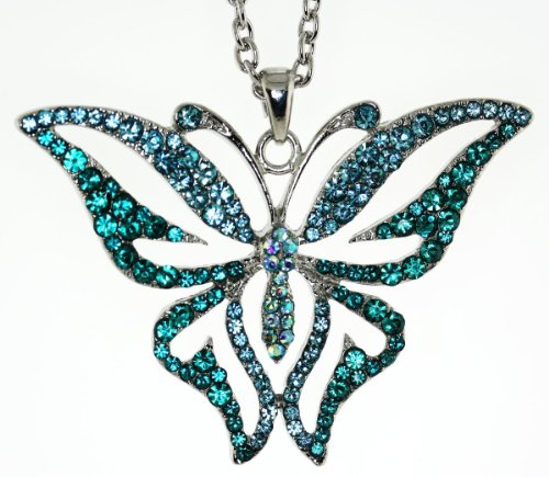 Vintage Style Austrian Crystal Butterfly Chain Necklace - Aqua and Zircon Blue