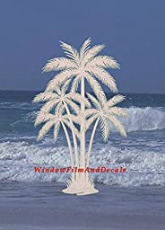 Oval Palm Tree Etched Window Decal Vinyl Glass Cling - 10.5\