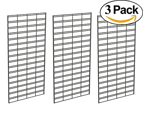 Econoco Metal Slat Grid for Any Retail Display, 2' Width x 4' Height, 3 Grids Per Carton (Black) - Retail Display Shelving