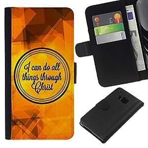 EJOY---La carpeta del tirón la caja de cuero de alta calidad de la PU Caso protector / HTC One M7 / --BIBLIA Puedo hacer todas las cosas a través de Cristo