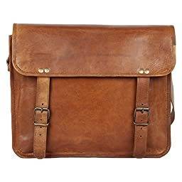 Rustic Town Leather Business Messenger Bag for Men & Women, 13 inch, Brown