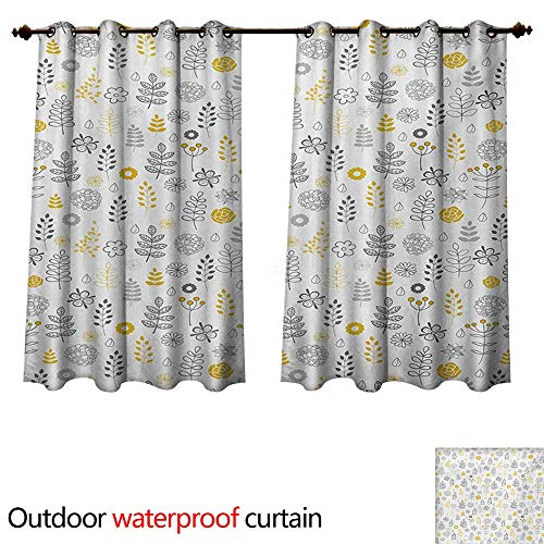 Modern Outdoor Curtain for Patio Nature Wild Forest Leaves Flowers Trees Buds Sketchy Contemporary Art Print W63 x L63(160cm x 160cm) ()
