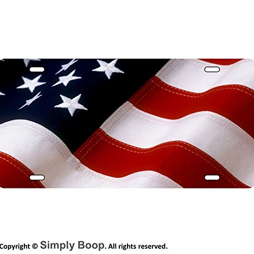 American Flag Fabric Look Patriotic Aluminum License Plate Gloss Baked on (Flag Patriotic License Plate)