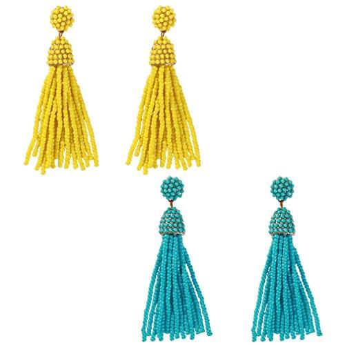 Ring Bead Engagement Dangle (NLCAC Women's Beaded tassel earrings Long Fringe Drop Earrings Dangle 6 Colors (yellow blue))