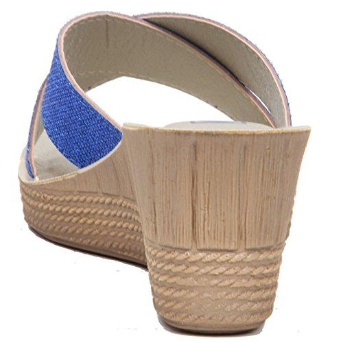 Alta Con Bretelle Scarpe Casual Tacco Blue Estivi Da Zeppa Donna ORnWScS
