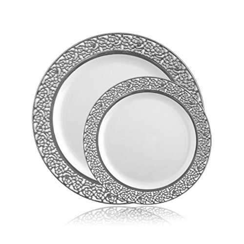 Posh Setting Lace Collection Combo Pack China Look White-Silver Rim Plastic Plates (Includes 4 Packs of 10 Plates, 20 10.25'' Dinner Plates and 20 7.25'' Salad Plates) Elegant Disposable Dinnerware