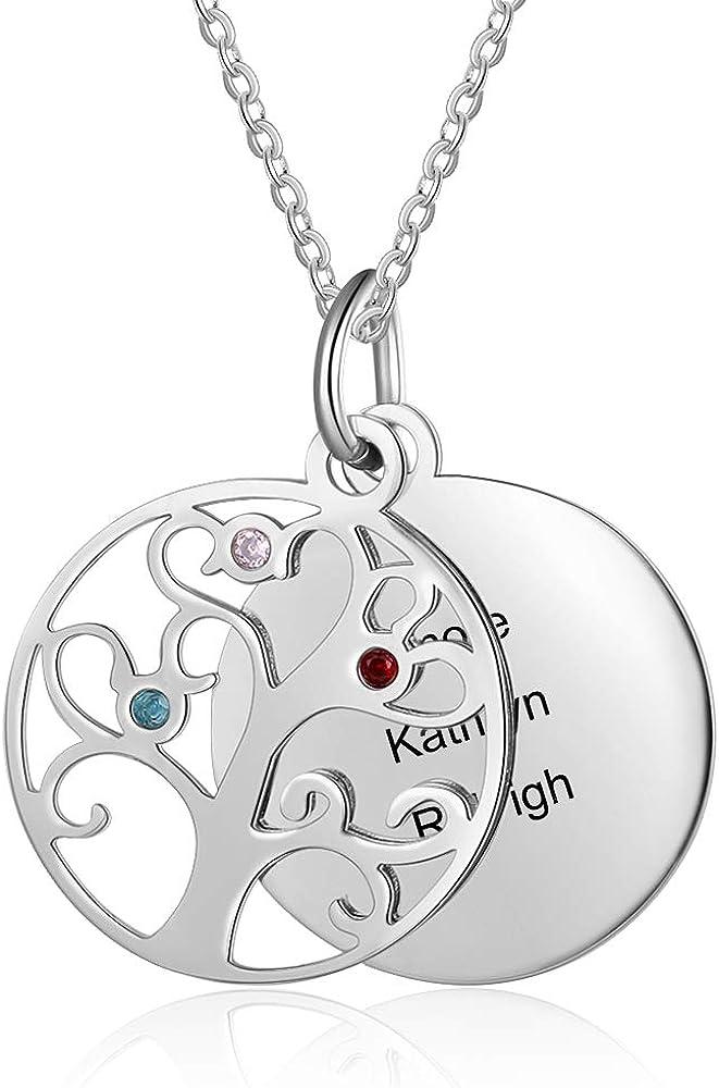 OPALSTOCK Collar con Nombre en Plata 925 Personalizado Collar de la Madre del árbol de la Vida con 3-4 Collar con Nombre para Mujer Collar con 3-4 Piedras natales simuladas