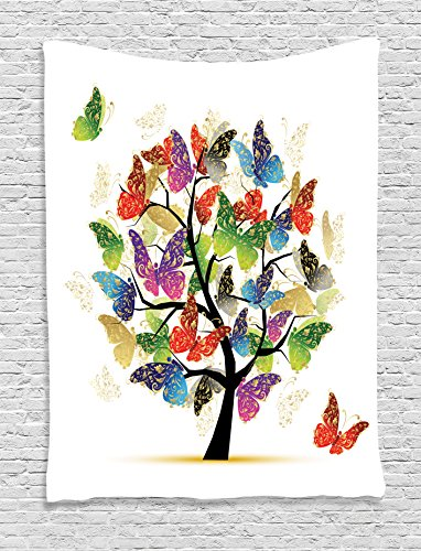 Ambesonne Tree of Life Decor Collection, Shaded Butterfly Moth Tree Colored Wings Flying New Life Theme Illustration Hope Home, Bedroom Living Room Dorm Wall Hanging Tapestry, Multi