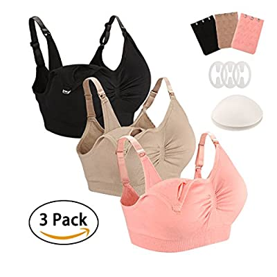 Seamless Nursing Bra Maternity Bra, Wireless Bra For Breastfeeding Pregnancy With Removable Bra Pads Extenders & Clips