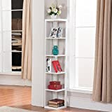 Topeakmart 5 Tier White Wood Wall Corner Bookshelf Display Bookcase Home Office Living Room Furniture