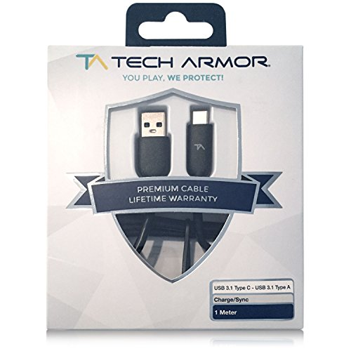 Tech Armor Hi-Speed USB Type-C 3.1 Male to USB A Male Charging Cable - 3FT - Black - Sync and Charge Phone and More
