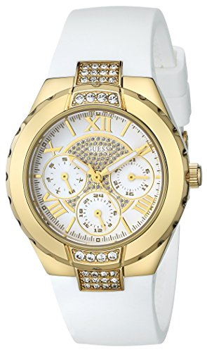 (GUESS Women's U0327L1 White Silicone Multi-Function Watch with Gold-Tone Case and Genuine Crystal Accents)