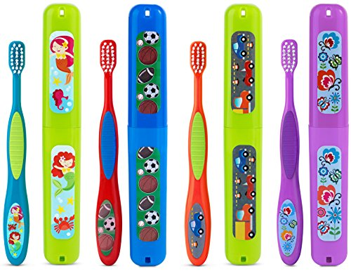 Set of 2- Kids Toothbrushes Extra Soft With Case, Boy & Girl Assorted Design, make fun for kids Beginners