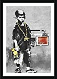Alonline Art - Boy with Dance Mat Banksy Black Framed Poster (Print on 100% Cotton Canvas on Foam Board) - Ready to Hang | 15''x21'' | Frame Framed Paintings Framed Posters Framed Artwork Giclee