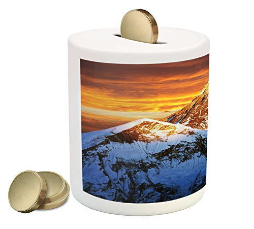 (Lunarable Mountain Piggy Bank, Sunlights on Summit of Everest Scenic Scenery Sunset in Natural Paradise, Printed Ceramic Coin Bank Money Box for Cash Saving, Orange Violet Blue)