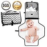Portable Nappy Changing Mat with Mesh and Head Cushion Pockets Waterproof Diaper Changing Pad Organizer Foldable Infant Urinal Pad Baby Changing Kit Kid Transit Changing Bag for Home and Travel