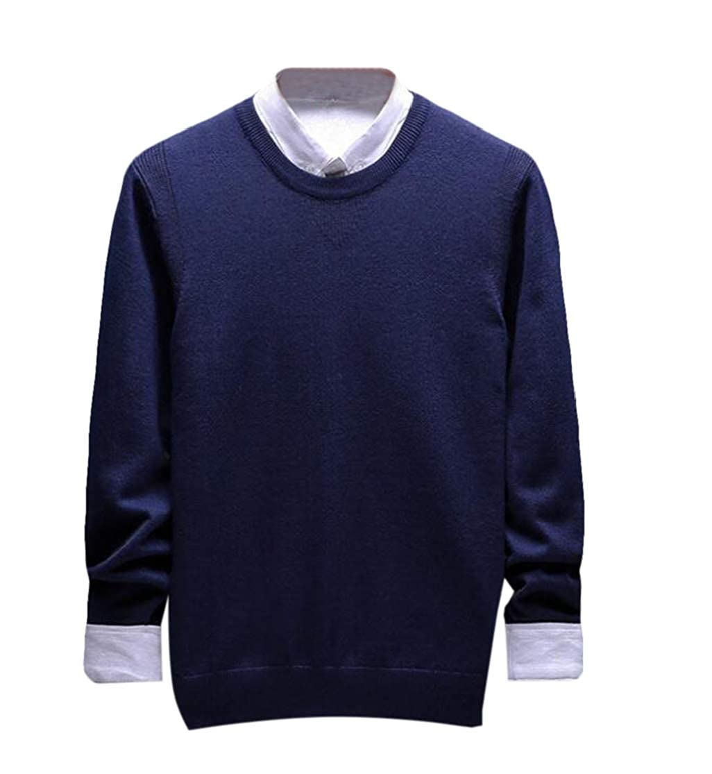 KLJR Men Winter Crewneck Relaxed Fit Knitwear Pullover Sweaters